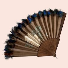 Hand Painted Fan With Peacock Feathers