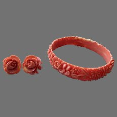 Vintage Molded Coral Celluloid Bangle Bracelet & Earrings Set