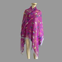 Large Fuchsia Scarf Shawl With Stylized Birds Polyester