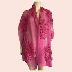 Pink Silk Chiffon Scarf Hand Made India Never Worn
