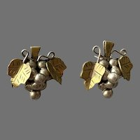 Mexican Sterling & Brass Grapes and Leaves Pierced Earrings