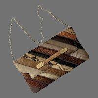 Vintage 1960's Reptile Skin Shoulder Bag Clutch Purse By Supreme