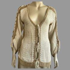Vintage 1960's Crochet Top With Drawstrings & Ties