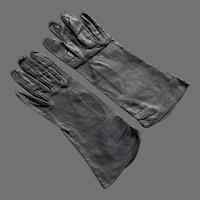 REDUCED Vintage Dark Gray Kid Leather Gloves