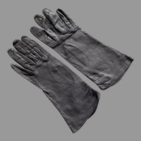 Vintage Dark Gray Kid Leather Gloves