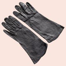 Vintage Dark Gray Kid Leather Gloves