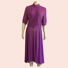 1970's Purple Polyester Crepe Shirtwaist Dress Made In USA