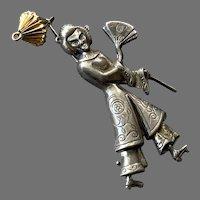 1950's Lang Sterling Figural Asian Lady Pin Fan & Lantern