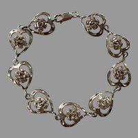 Sterling Hearts & Flowers Bracelet