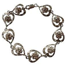 Sterling Hearts & Flowers Bracelet