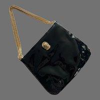 1970's Ruth Saltz Black Patent Leather Purse Handbag