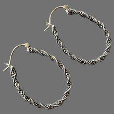 Sterling Marcasite Large Oval Hoop Pierced Earrings