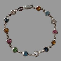 Italian Sterling Milor Heart Multi-Colored Crystal Bracelet