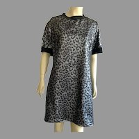 Vintage Black & Gray Leopard Print Dress