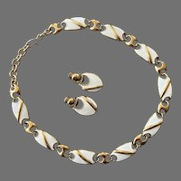 Vintage Monet Gold Tone White Enamel Necklace Earrings Set