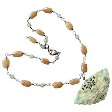 Chinese Butterfly Hardstone & Agate Pendant Necklace