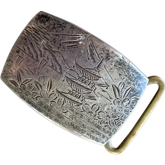 Sterling Belt Buckle With Engraved Asian Pagoda Scene