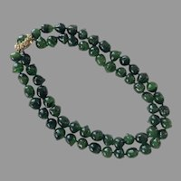 Vintage Vogue Green Black Art Glass Necklace
