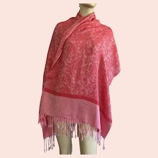 Red & Pink Paisley Pashmina Silk Scarf Shawl With Fringe