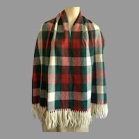 Vintage Baar & Beards Wool Rayon Scarf Red Green White Plaid