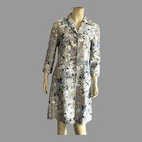 Dana Buchman 1980's Silk Floral Long Jacket Coat Size 6