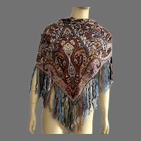 REDUCED Vintage Fraas Square Paisley Scarf With Silk Fringe Made In Germany