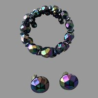 Black Aurora Borealis Beaded Memory Wire Bracelet & Earrings Set 1940's 50's