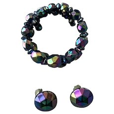 Black Aurora Borealis Beaded Memory Wire Bracelet & Earrings Set 1940's 50's