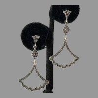 Vintage Sterling Marcasite Openwork Dangle Earrings