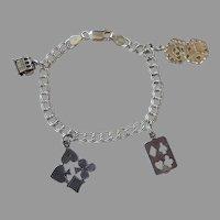 Italian Sterling Gambling Casino Charm Bracelet