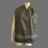 Vintage Silk Reversible Scarf Muffler With Fringe Unisex