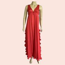 Vintage Lipstick Red Nylon Negligee Nightgown 1970's