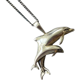 Sterling Double Dolphin Pendant On Chain By Kabana