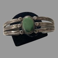 Vintage Native American Navajo Green Turquoise Cuff Bracelet