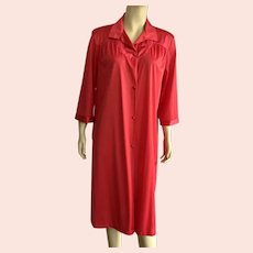 1960's Vanity Fair Lipstick Red Nylon Robe