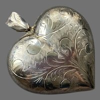 Vintage Large Sterling Engraved Puffy Heart Pendant