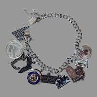 1960's Elco Sterling Charm Bracelet States Theme 10 Charms