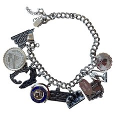 1960's Sterling Charm Bracelet States Theme 10 Charms