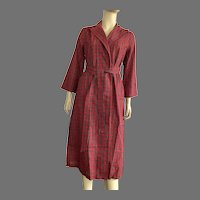 Vintage Women's Red Plaid Wrap Robe Never Worn