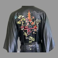 Vintage Chinese Silk Embroidered Robe / Dressing Gown