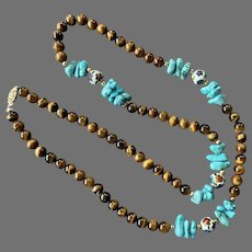 Tiger's Eye, Turquoise, Cloisonne Beaded Necklace