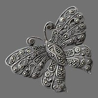 Sterling & Marcasite Butterfly Pin