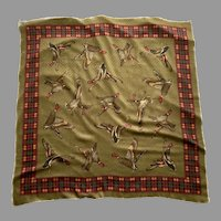 Vintage Polyester Duck Theme Scarf