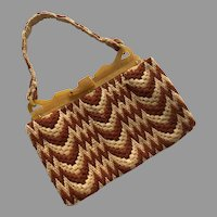 Vintage 1930's Woven Wool Purse With Butterscotch Plastic Frame