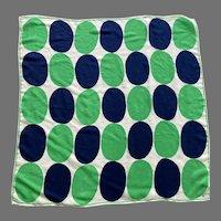 Vintage 1970's Vera Silk Scarf Made In Japan Navy White Green
