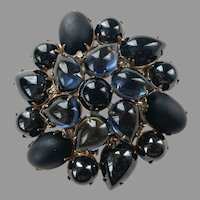 Fabulous Large Tiered Navy Blue & Black Glass Stone Pin