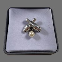 Lang Sterling Bowling Theme Pin With Faux Pearl