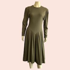 Vintage 1980's Olive Green Drop Waist Dress By Expo Made In USA