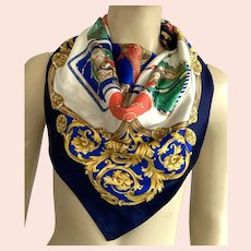 Vintage Polyester Equestrian Theme Scarf Made In Italy