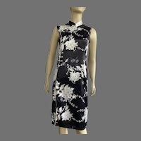 Vintage Chinese Cheongsam Silk Black & White Dress
